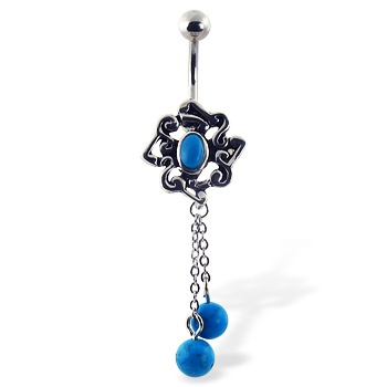 Light blue chandelier belly button ring