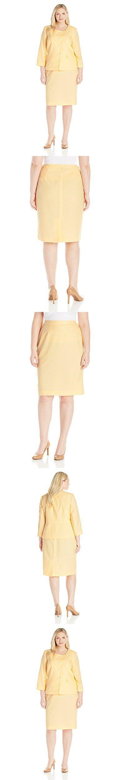 Le Suit Women's Plus Size Seersucker 4 Button Jacket Skirt, Sunshine/White, 24W
