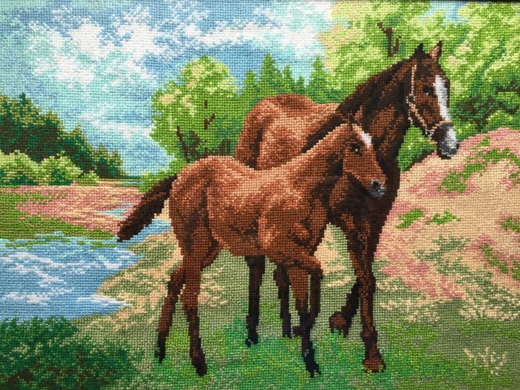 """Completed cross stitch, Home decoration, Framed cross stitch, Handmade embroidery - """"Horse with foal"""". by NattikStudio on Etsy"""