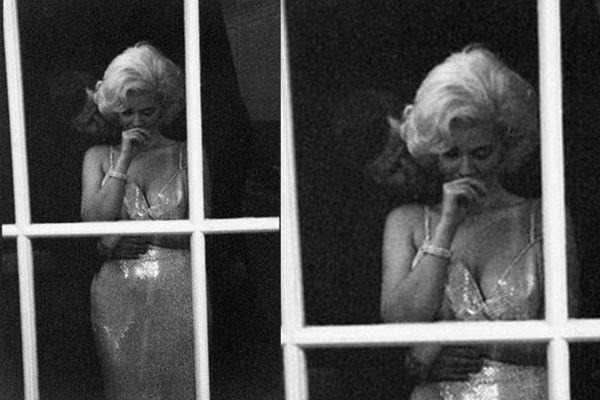 Uno de los romances más renombrados del siglo XX fue el de Marilyn Monroe y el presidente John F. Kennedy, solo una vez fueron captados por una cámara fotográfica, desde entonces los rumores crecieron.  Imagen real tomada de un documental al respecto