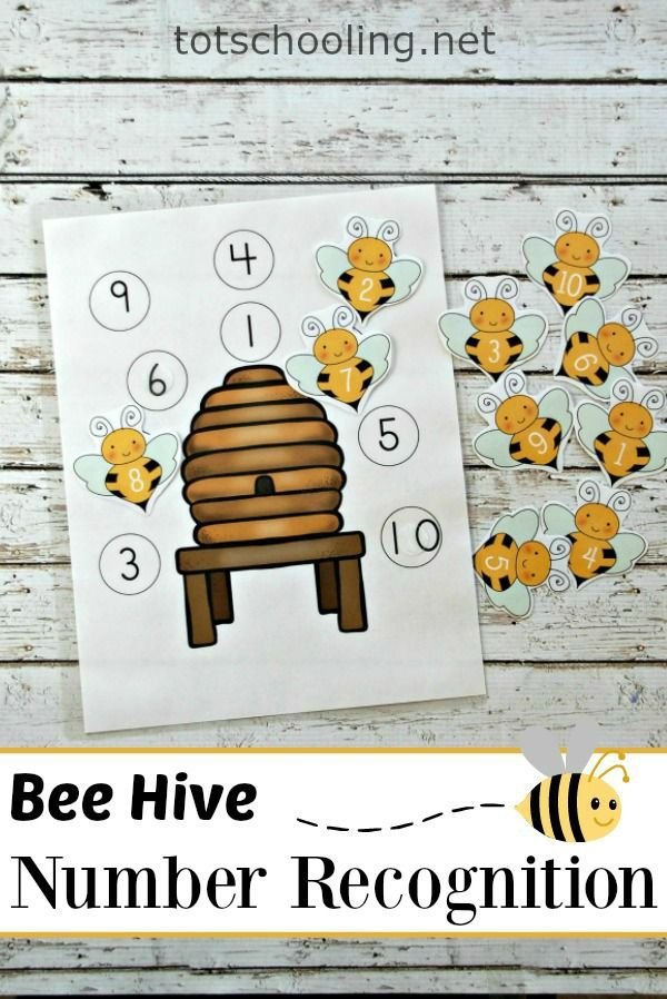 FREE printable Number recognition and matching activity for toddlers and preschoolers featuring bees. Perfect preschool math activity for Spring or Summer.