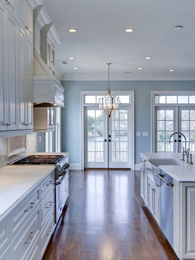 Benjamin Moore Woodlawn Blue Hc 147 Benjaminmoorewoodlawnblue Benjaminmoorehc B A Tidy Kitchen And Pantry In