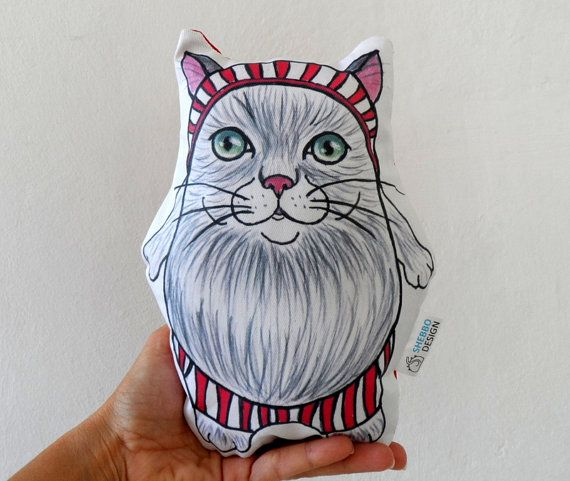 Plush Cat Pillow Toy nursery decor animal by ShebboDesign on Etsy
