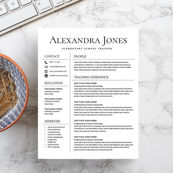 Teacher Resume  Teacher CV  CV Template  Free by KingdomOfDesigns