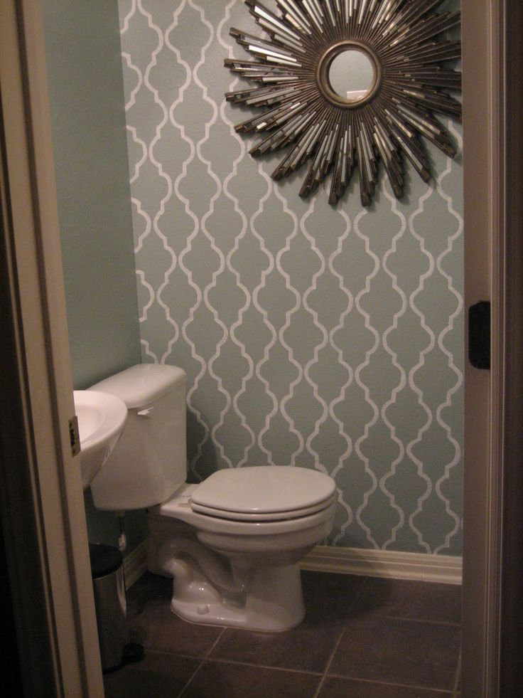 Might do something like this on the walls of the small bathroom...