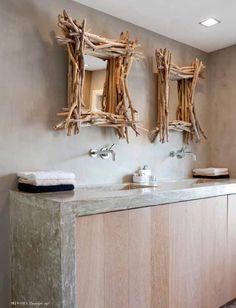 specchi con legni di mare per arredo bagno