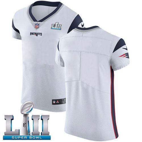 8b1680bc9f7 Nike Patriots Blank White Super Bowl LII Men s Stitched NFL Vapor  Untouchable Elite Jersey