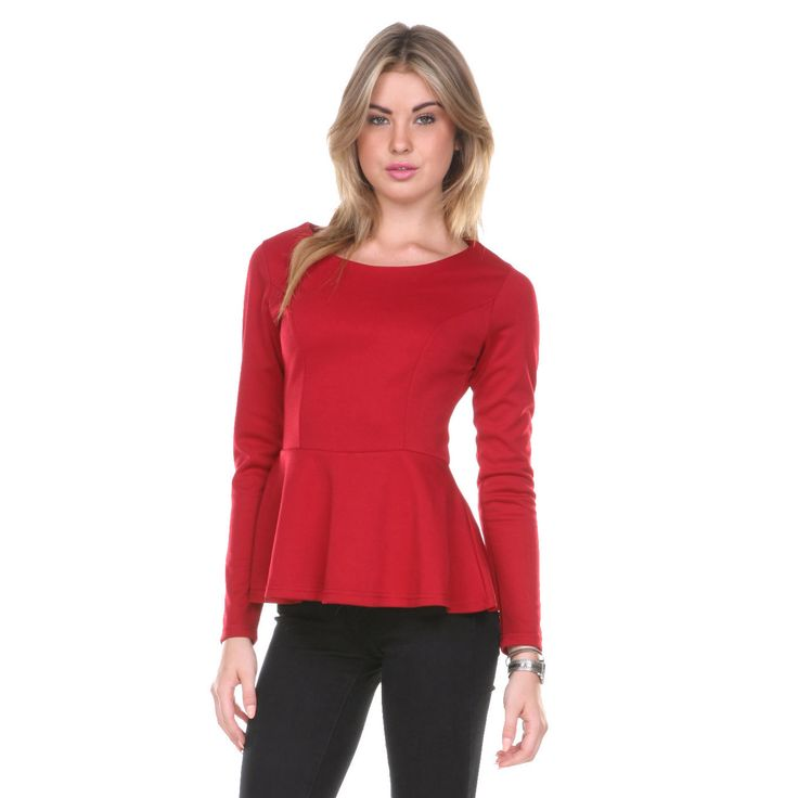Look simply stylish day or night in the Stanzino women's long sleeve peplum top. This long sleeve blouse is made from 95 percent cotton for maximum breathability, making it comfortable whether worn at