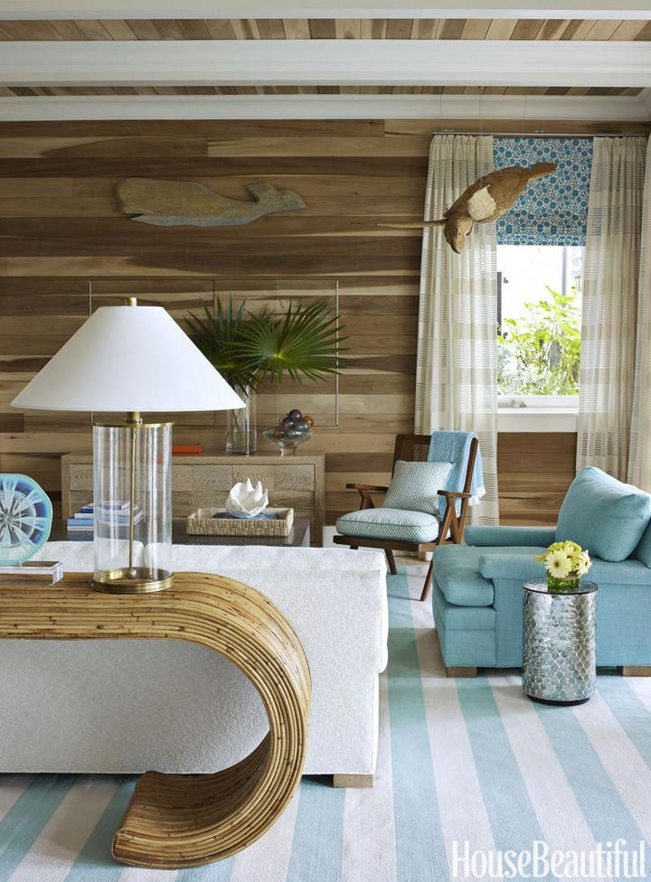Beach House Family Room With Turquoise Accents Coastallivingrooms