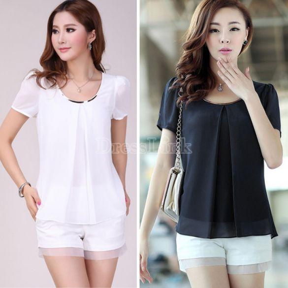 Women Chiffon Shirt Short-Sleeve Plus Size Cool Chiffon Blouse