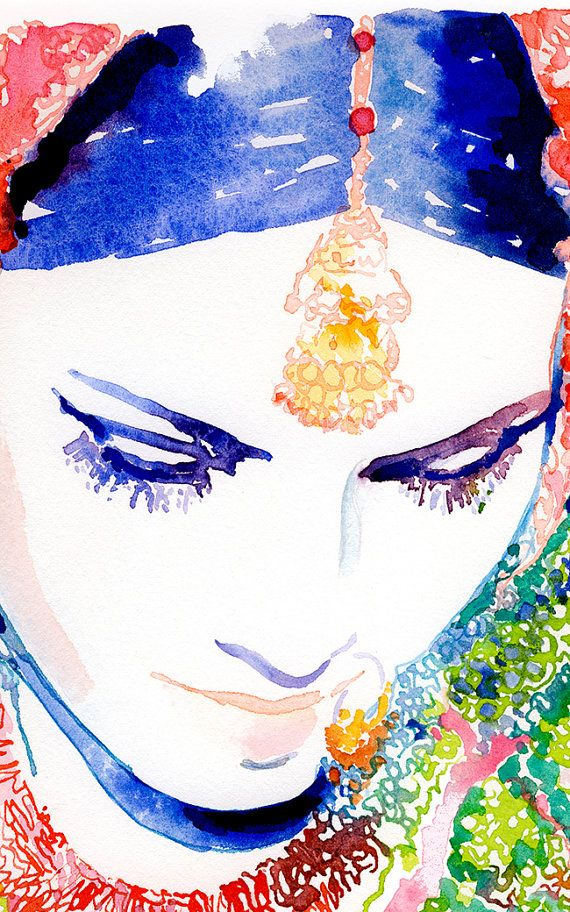 Indische Braut Print indische Mode-Illustration Aquarell