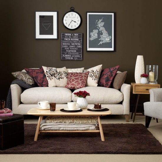 living room in velvety chocolate brown and cream and burgundy accents