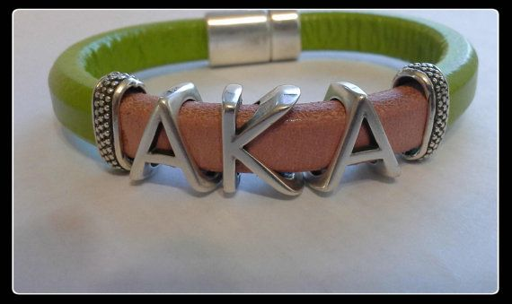 Divine 9  Alpha Kappa Alpha Sorority  Leather by GlobalBangles