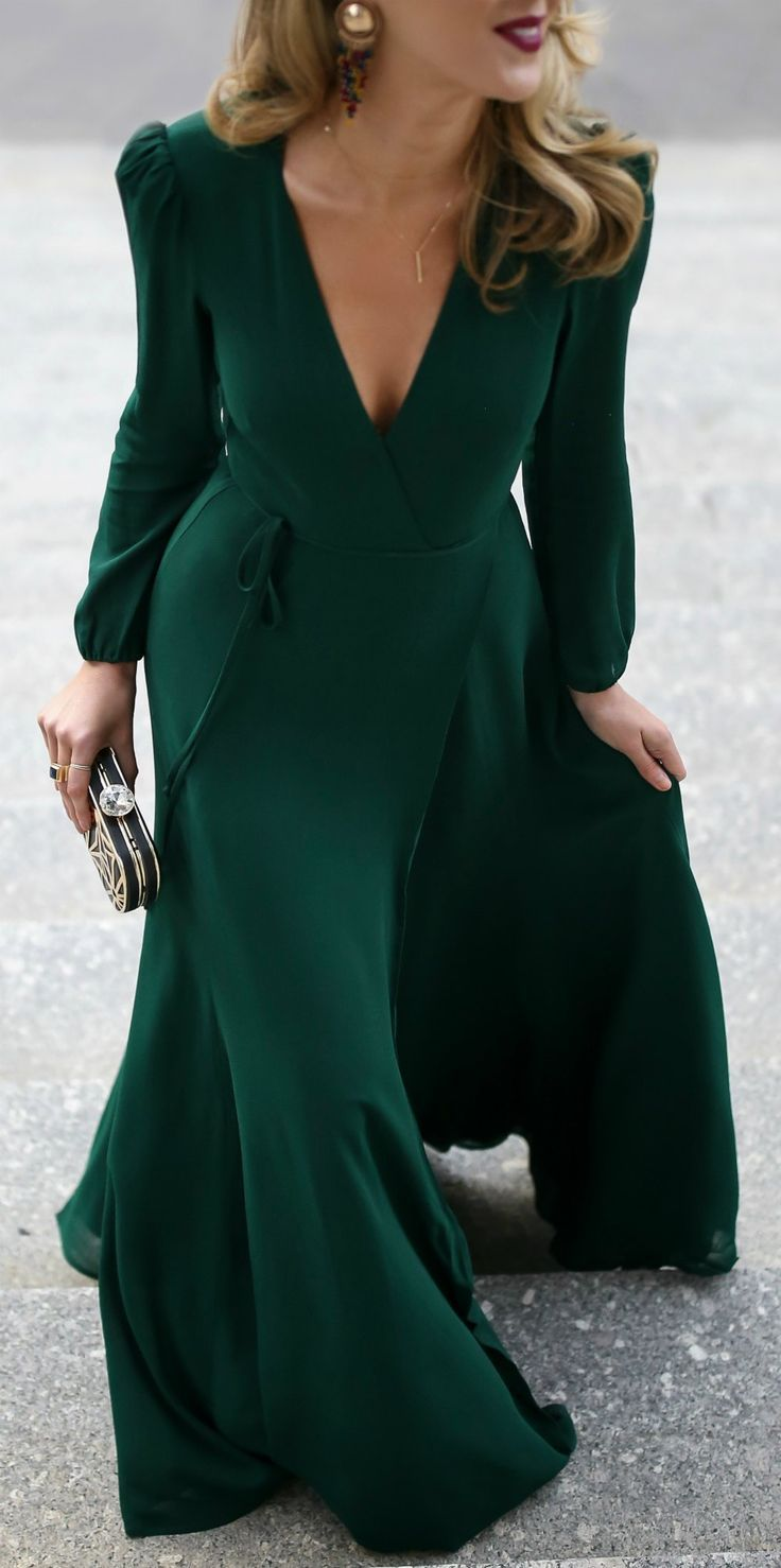 Black Tie Wedding Outfit // Emerald green long-sleeved floor-length wrap dress, black and gold geometric pattern evening clutch, multicolor beaded statement earrings, black velvet kitten heel pumps with bow detail {Miu Miu, Zara, Reformation, black tie wedding, formal wedding guest,