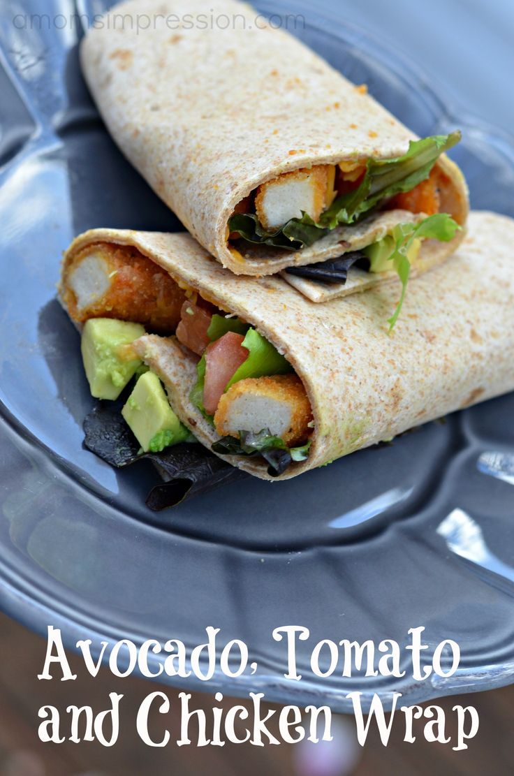 A quick and tasty Avocado, Tomato and Chicken Wrap Recipe using Tyson Chicken Fries. Lunch for the grownups while the kids enjoy their chicken fries.