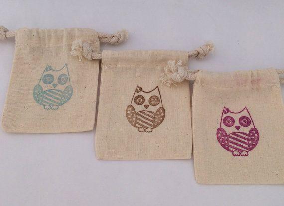 Owl Favor Bag: 5+ Owl Theme Drawstring Muslin Bags, Owl Party Bag, Owl Party Supplies