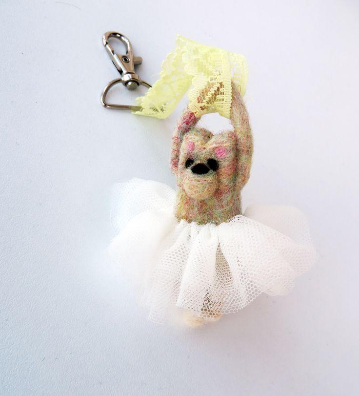 Ballerina needle felt key chain