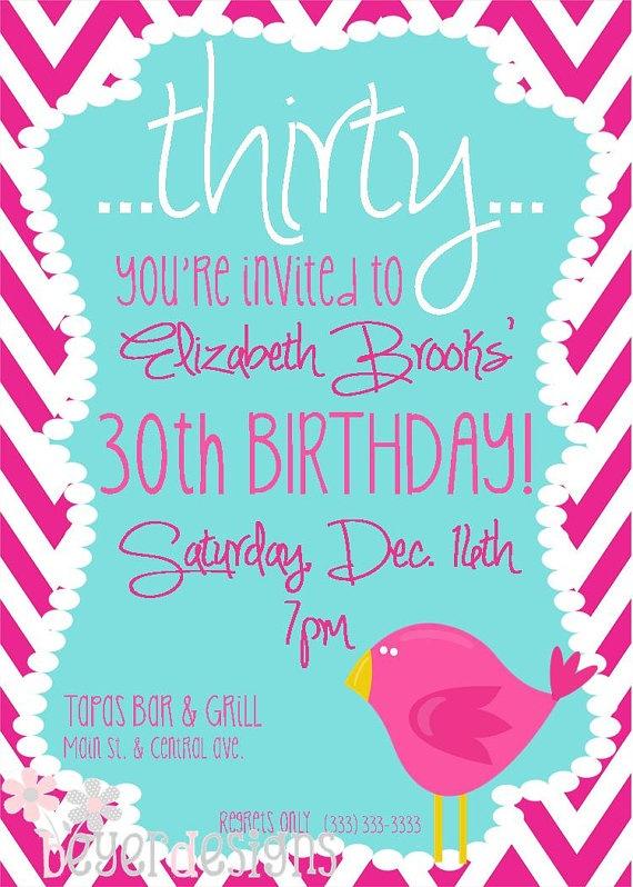 Custom 30th birthday invitation  Chevron w/bird  by BeyerDesigns, $12.00