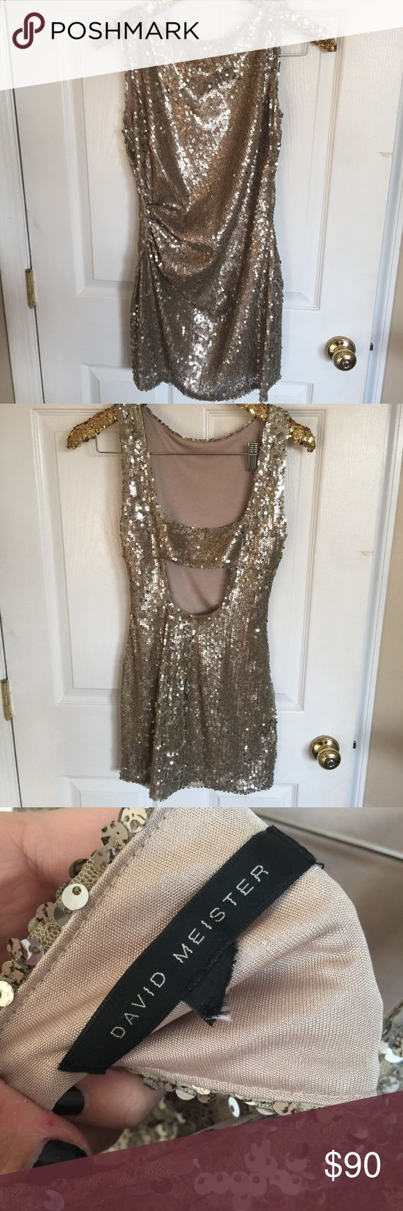 David Meister Gold Sequin Dress Gently worn! Hello isn't this fabulous!??? Christmas party?? New Years?? David Meister Dresses