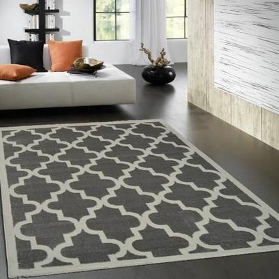 QUADRILOBE Tapis de salon 120x170 cm Gris - Achat / Vente tapis 100% Polypropylène - Cdiscount
