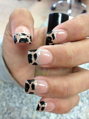 French Manicure with Black Animal Print