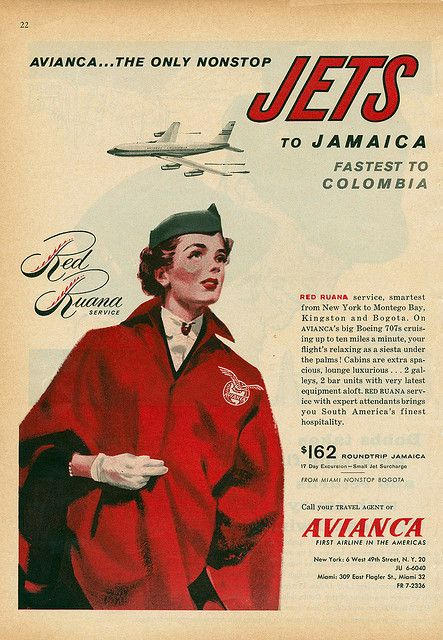 vintage ad for Avianca Airlines offering direct flights from Miami to Jamaica