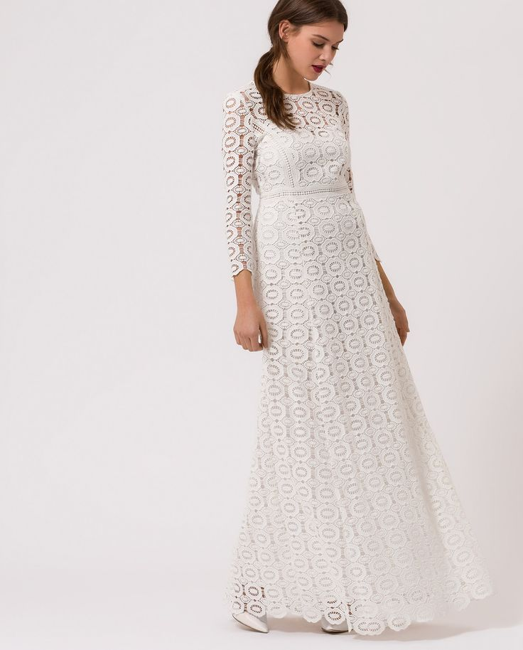 Crochet Occasion Dress - snow white - IVY & OAK