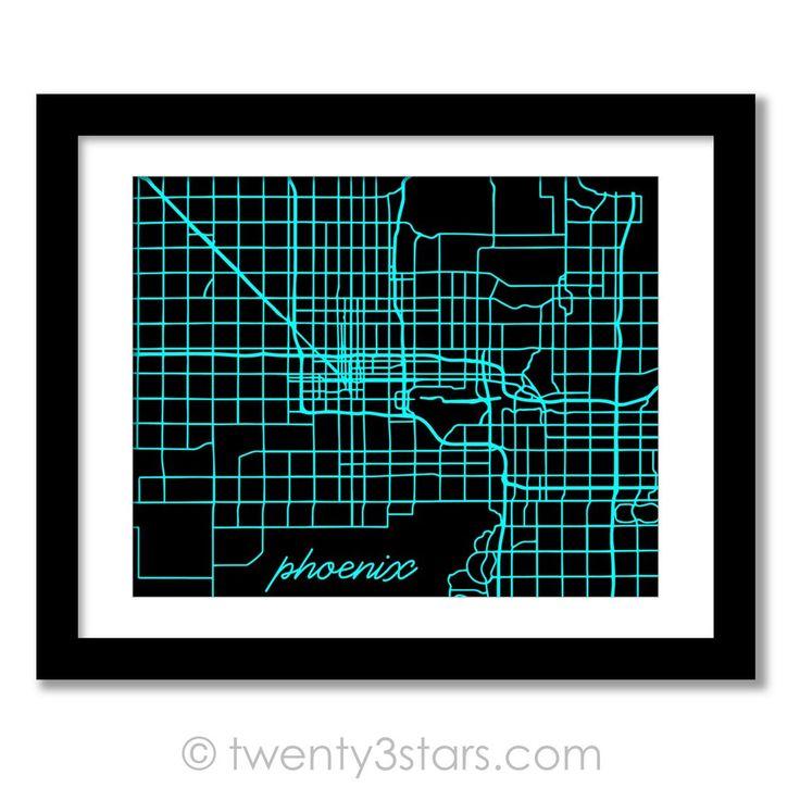Phoenix, Arizona Street Map Wall Art - Choose Any Colors - twenty3stars