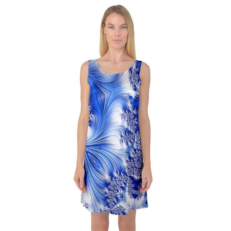 Special+Fractal+17+Blue+Sleeveless+Satin+Nightdresses