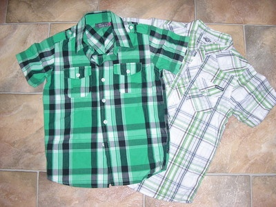 AS NEW Boys Mambo & Piping Hot Green Check Shirts Size 8