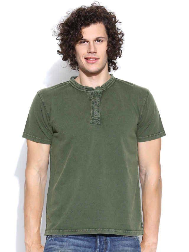 Dream of Glory Inc. Olive Green Henley T-shirt