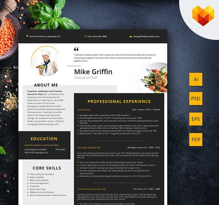 Mike Griffin Executive Chef Resume Template 66432 in