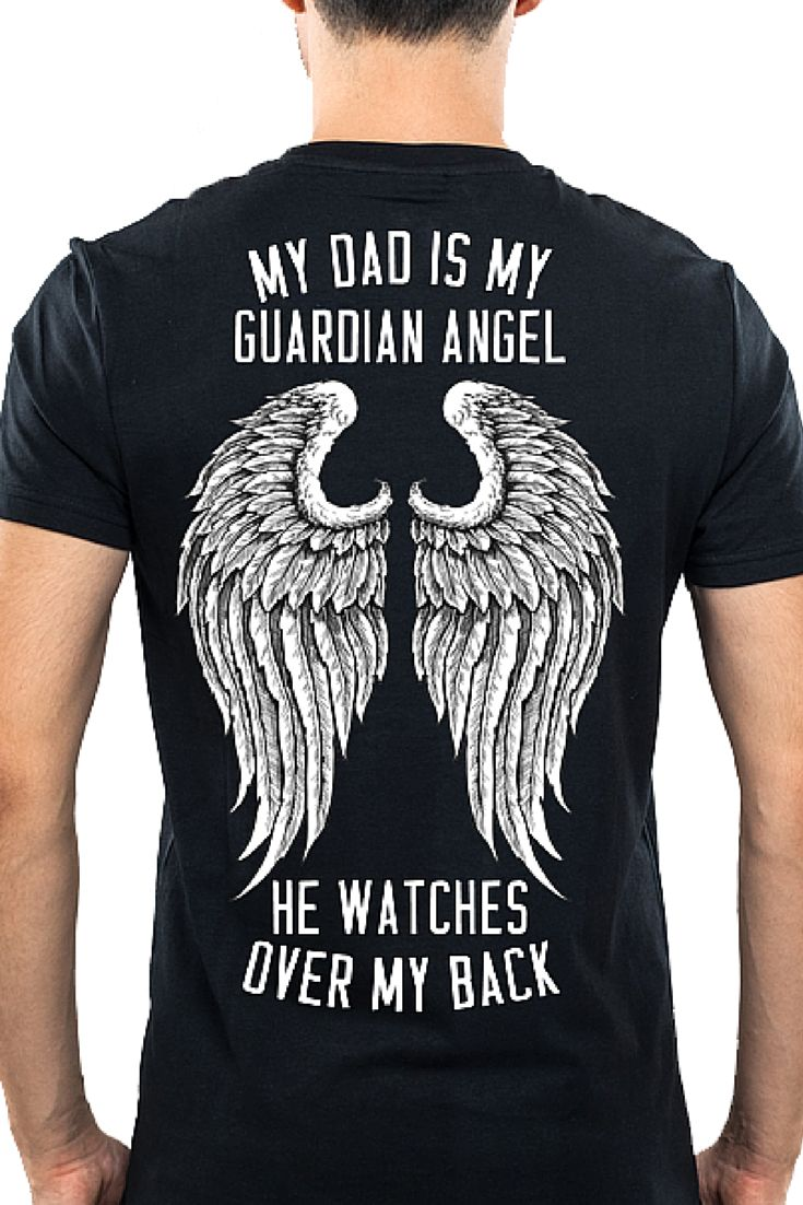 Dad Is My Guardian Angel | Tee Shirt Galaxy - Custom Sports Tees and Mugs  Father's Day Missing My Father Father is my Guardian Angel  #FathersDay #FatherShirt #MissingHim