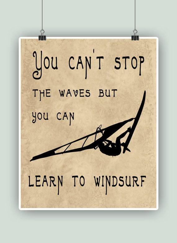 Windsurf Art Print no puedes parar las olas pero por DigitalArtLand