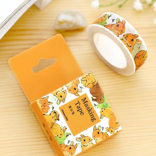 Diy de la historieta animales conejo de papel cintas del washi / cinta adhesiva decorativa / cinta adhesiva / pegatinas / útiles escolares tamaño 15 mm * 10 m