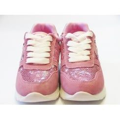 Hunt Girls Pink Fashion Trainer With Sequins