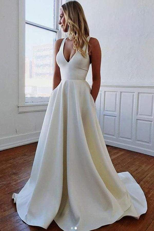 White Simple V Neck A Line Wedding Dress With Bows Plain Wedding Dress Wedding Dress With Pockets Wedding Dresses Satin