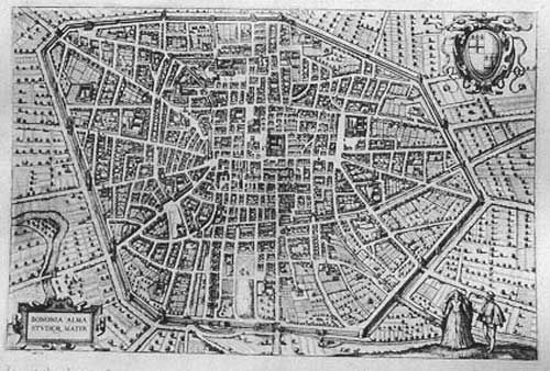 "GEORGE BRAUN (1541 - 1622) - FRANS HOGENBERG (1535 - 1590)  ""Bononia Alma Studiorum Mater""  Dall'opera: ""Civitates Orbis Terrarum"", Colonia, 1588"