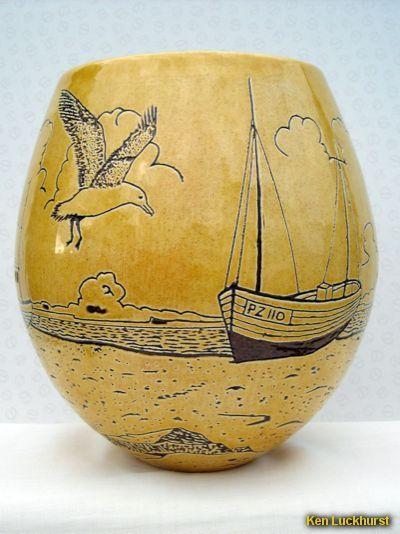 "Sgraffito Beach Scene Vase - 7"" Vase showing fishing boats beached on the sand. By Ken Luckhurst."