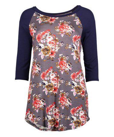 bd5ca6ab This Gray & Coral Floral Three-Quarter Sleeve Raglan Tee - Women & Plus is  perfect! #zulilyfinds