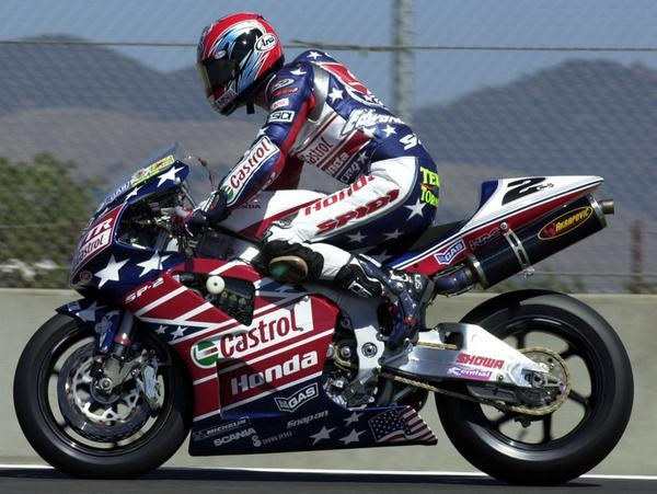 Colin Edwards. Flag livery, Honda, 2002, Laguna Seca.  Championship year.