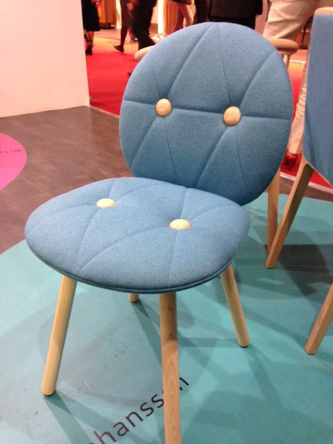 Blues and greens with light wood frames a big trend at this years show #milan #contractfurniture #chairs