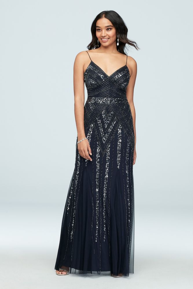 58b28bef504f9 Deco Beaded Mesh A-Line Gown with Godet Skirt Style 263312, Navy, 6 ...