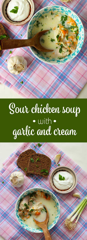 Sour chicken soup with garlic and cream, or ciorba radauteana