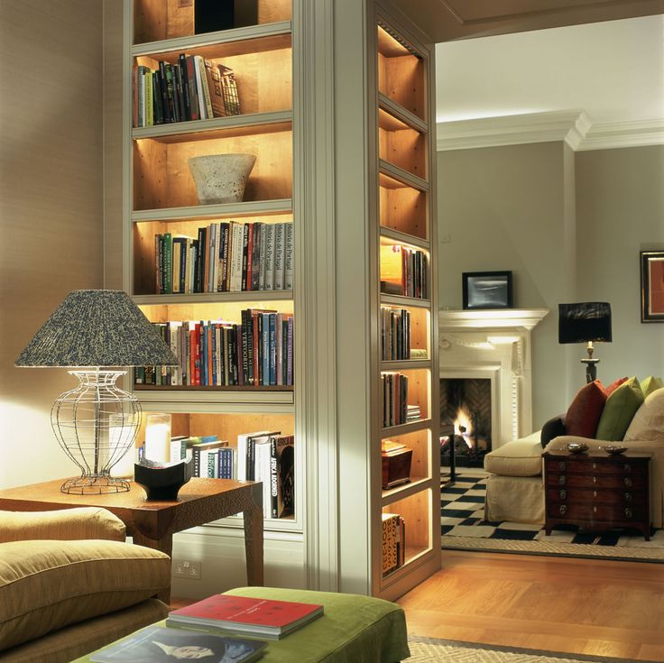 Lighting on bookshelves.  Let's do this in dining room or on secret coat closet door.