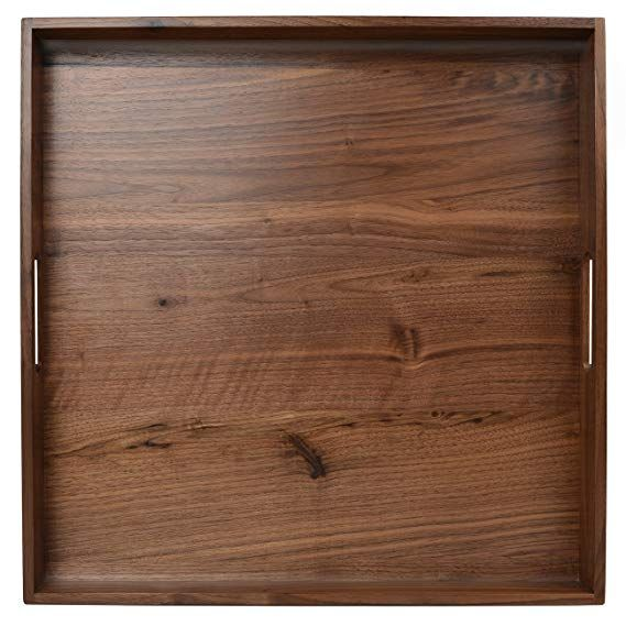 Glitz Star 19 X 19 Inches Large Square Wooden Solid Serving Tray With Handle Black Walnut Platter Ottoman D Large Square Ottoman Square Ottoman Wooden Platters