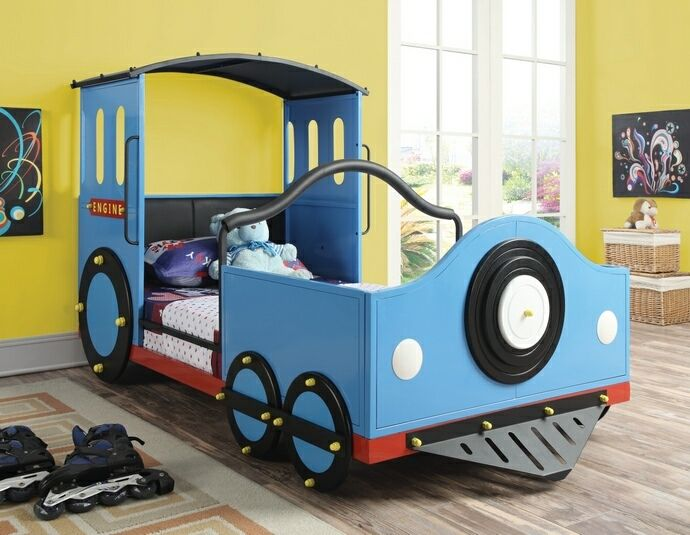 Blue train engine collection blue and black finish childrens