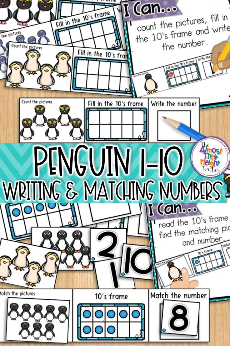 Practice numbers to 10 with this cute Penguin themed math pack.  Students are: 1 to 1 counting, filling in and reading 10's frames, writing, reading and matching numbers.  #wintermath #tensframes #kindergartenmath #kindergarten #numbers #numbersto10 #penguins #penguinmath #teacherspayteachers