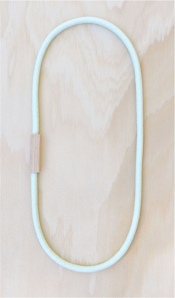 Wood and Fabric Necklace in MINT cotton