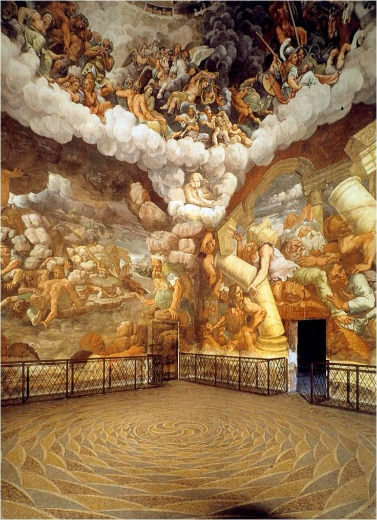 """Room of the Giants"" Palazzo del Te Mantua, Italy Giulio Romano 1525-1534 / http://www.studyblue.com/notes/note/n/quiz-1/deck/205453"
